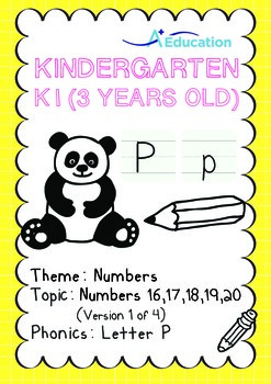 Numbers - 16,17,18,19,20 (I): Letter P - K1 (3 years old),