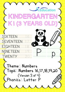 Numbers - 16,17,18,19,20 (III): Letter P - K1 (3 years old