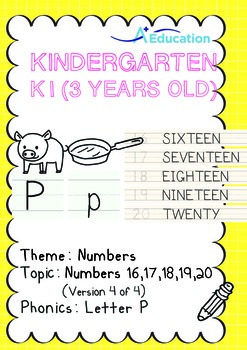 Numbers - 16,17,18,19,20 (IV): Letter P - K1 (3 years old), Kindergarten