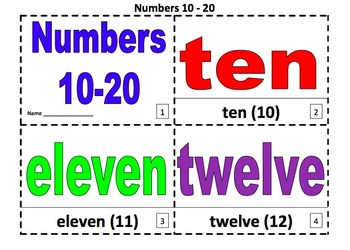 Numbers 2 Coloring Booklets With Numbers 10 - 20