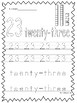 Numbers 21-30 Tracing Printable Worksheets in a PDF file.Preschool-KDG.
