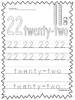 Numbers 21-30 Tracing Printable Worksheets in a PDF file.Preschool-KDG.