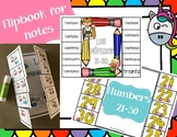 Numbers - 21-30 note taking flap book