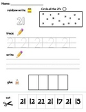 Numbers 21-30 printable worksheets -find, write, trace and glue!