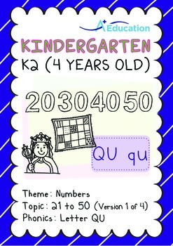 Numbers - 21 to 50 (I): Letter Qu - K2 (4 years old), Kind