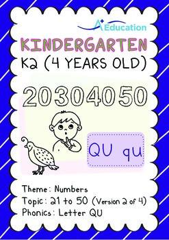 Numbers - 21 to 50 (II): Letter Qu - K2 (4 years old), Kindergarten