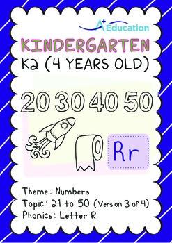 Numbers - 21 to 50 (III): Letter R - K2 (4 years old), Kindergarten
