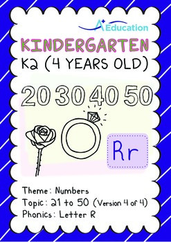 Numbers - 21 to 50 (IV): Letter R - K2 (4 years old), Kind