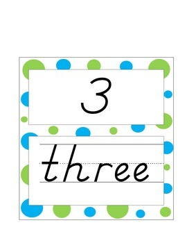 Numbers with words blue and green