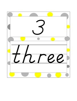 Numbers with words 1-10 yellow and gray