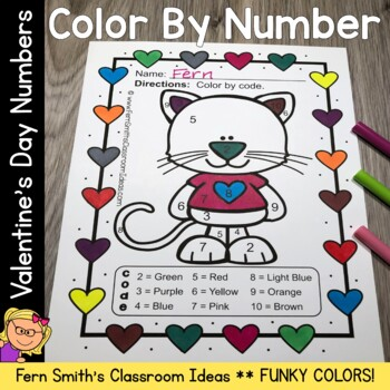 Color By Number St Valentine's Day Funky Valentines Know Your Numbers