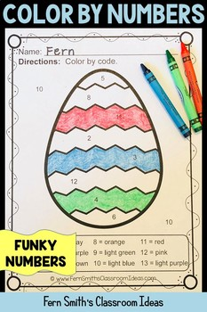 Color By Numbers Funky Easter Eggs Numbers