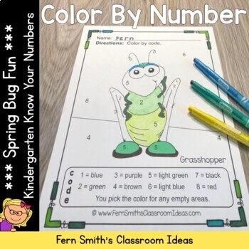 Color By Numbers Spring Bug Fun Numbers