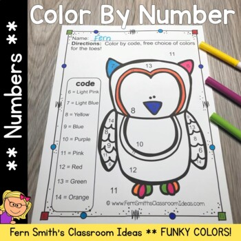 Color By Numbers Funky Owls Know Your Numbers