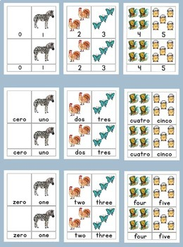 Spanish and English Words and Numerals on 3 Part Cards 0-5 Montessori Style