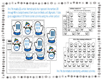 Numbers 30-40: Winter Cards and Activities (Place Value Blocks and Tally Marks)