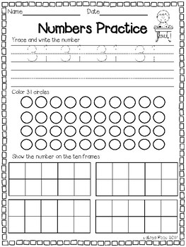 Numbers 31-40 Tracing Worksheets & Teaching Resources | TpT