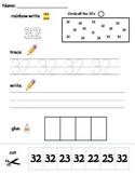 Numbers 31-40 printable worksheets -find, write, trace and glue!