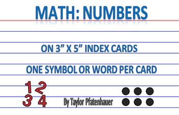 Numbers 3x5 Cards