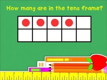 Numbers 4-8 showing different arrangements in a tens frame