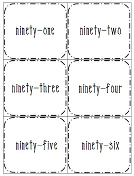 Numbers 4 Ways: 91-120 (number, word, base-10 form, expanded form)