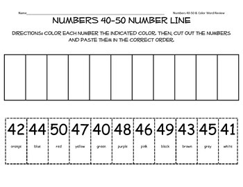 Numbers 40-50 Number Line