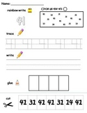 Numbers 41-50 printable worksheets - find, write, trace and glue!