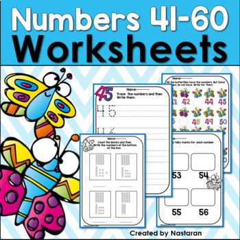 Numbers 41-60: Numbers To 60 Worksheets by Nastaran | TpT