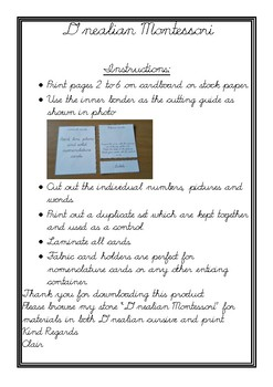 Numbers 41-60 digit, quantity and name 3 part cards in d'nealian cursive