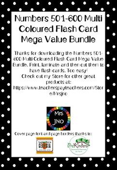 Numbers 501-600 Multi Coloured Flash Card Mega Value Bundle