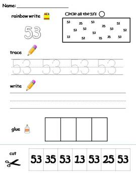 Numbers 51-60 printable worksheets - find, write, trace and glue!