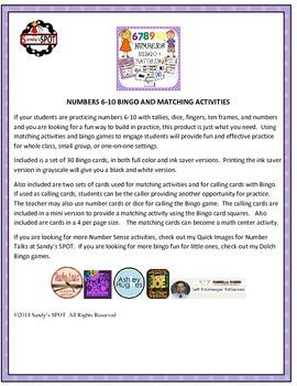 Numbers 6-10 TALLIES, DOMINOES, TEN FRAMES, FINGERS BINGO & Matching