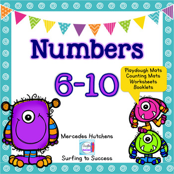Numbers 6-10 Playdough Mat, Worksheets, Counting Mat, and More