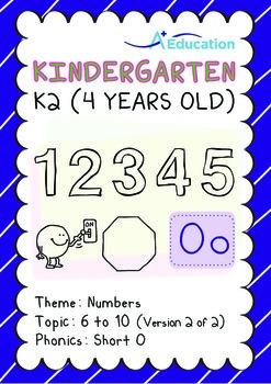 Numbers - 6 to 10 (II): Short O - K2 (4 years old), Kindergarten