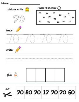 Numbers 61-70 printable worksheets - find, write, trace and glue!