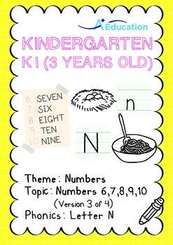 Numbers - 6,7,8,9,10 (III): Letter N - K1 (3 years old), Kindergarten