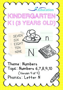 Numbers - 6,7,8,9,10 (IV): Letter N - K1 (3 years old), Kindergarten