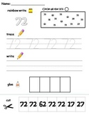 Numbers 71-80 printable worksheets - find, write, trace and glue!