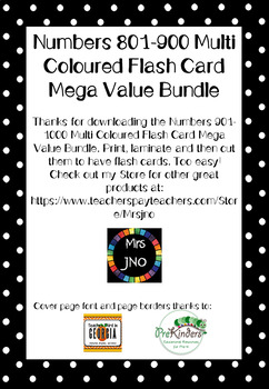 Numbers 901-1000 Multi Coloured Flash Card Mega Value Bundle