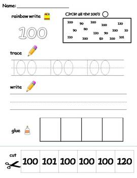 Numbers 91-100 printable worksheets - find, write, trace and glue!