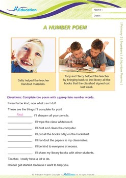 Numbers - A Number Poem - Grade 3