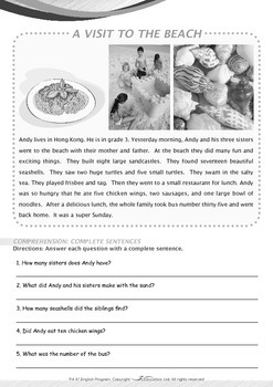 Numbers - A Visit to the Beach - Grade 4