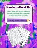 Numbers About Me - Personal numbers activity