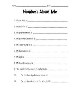 Numbers About Me Worksheet