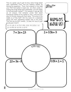 Numbers About Us Get to Know You Activity Two-Step Equations
