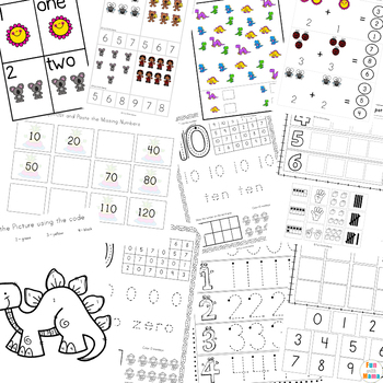 Numbers Activities Bundle, Worksheets and Play Dough Mats