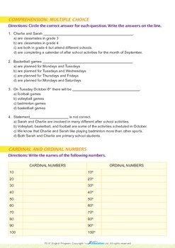 Numbers - After-School Schedule of Activities - Grade 3