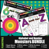 Numbers & Alphabet MONSTERS BUNDLE Count Spell Color Dista
