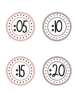 Clock Numbers--Red and Black Polka Dots