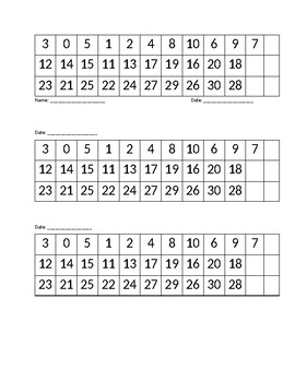 Numbers Assessment 0-30
